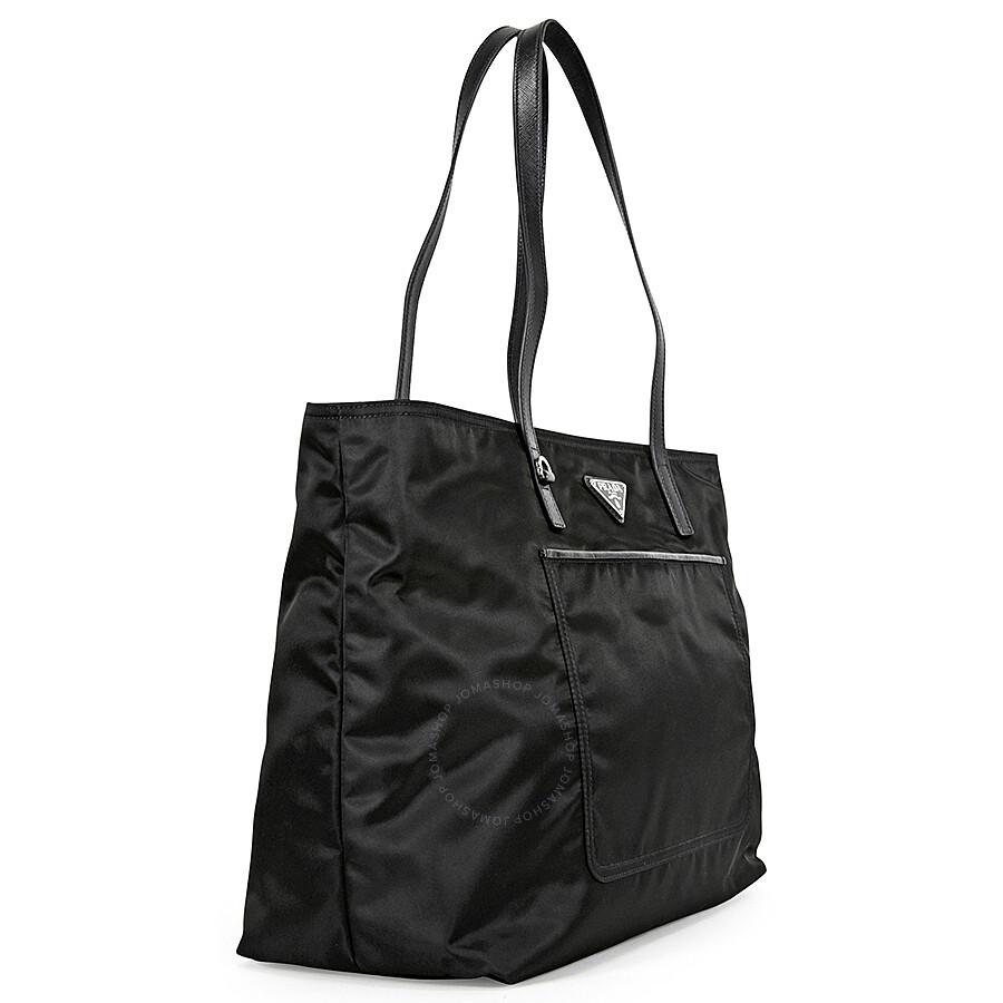 Prada Vela Fabric Tote - Black - Vela - Prada - Handbags - Jomashop 859dc71384d8e