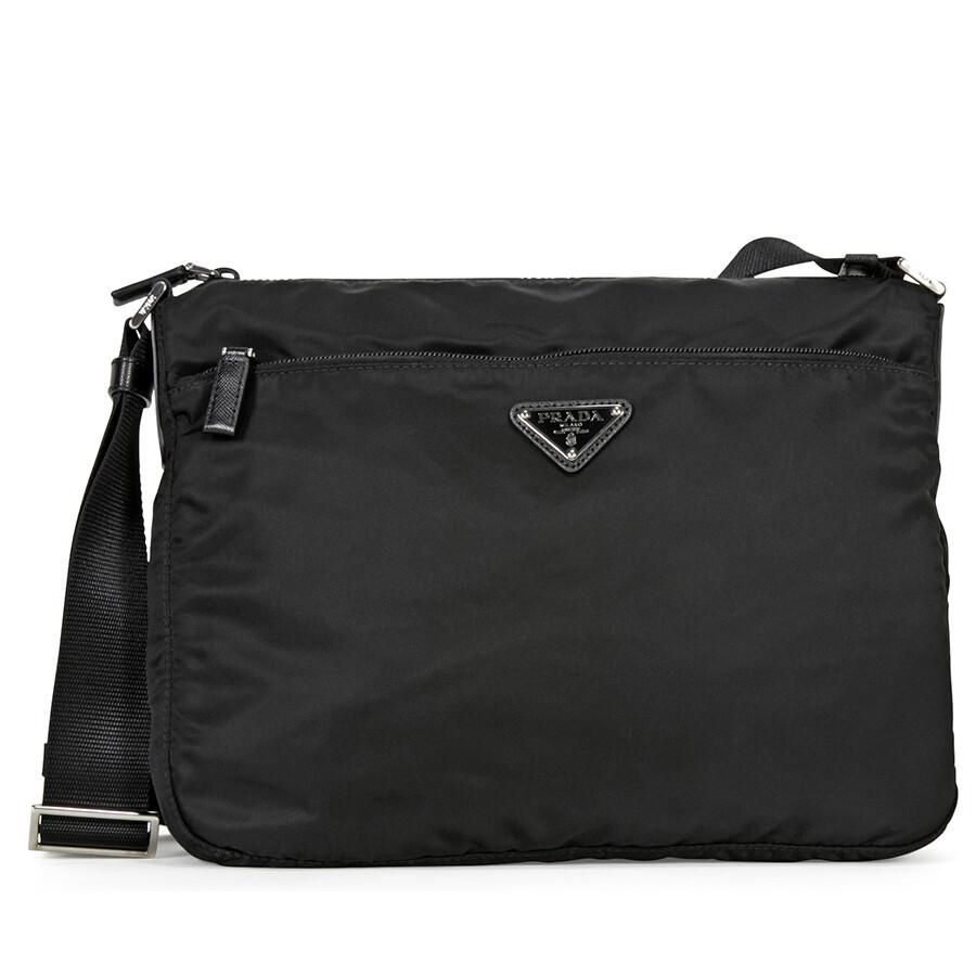 Prada Vela Nylon Shoulder Bag - Black - Prada - Handbags - Jomashop