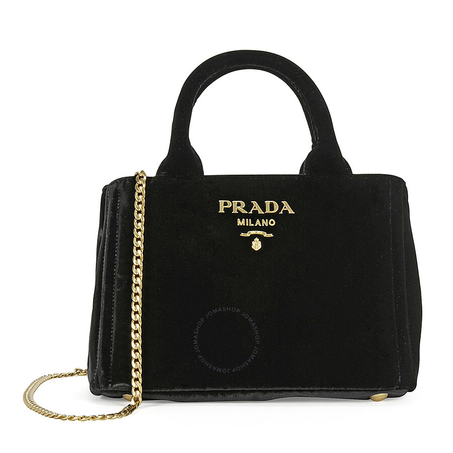 ce9cbb5ba38b44 Prada Velvet Chain Convertible Shoulder Bag - Black Item No.  1BA038-COO-68-F0002