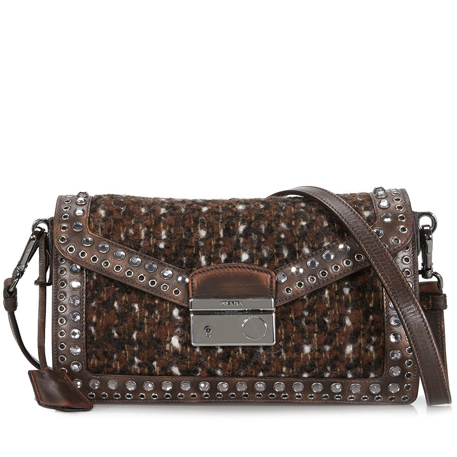 e400d290 Prada Wool and Leather Embellished Crossbody - Cocoa