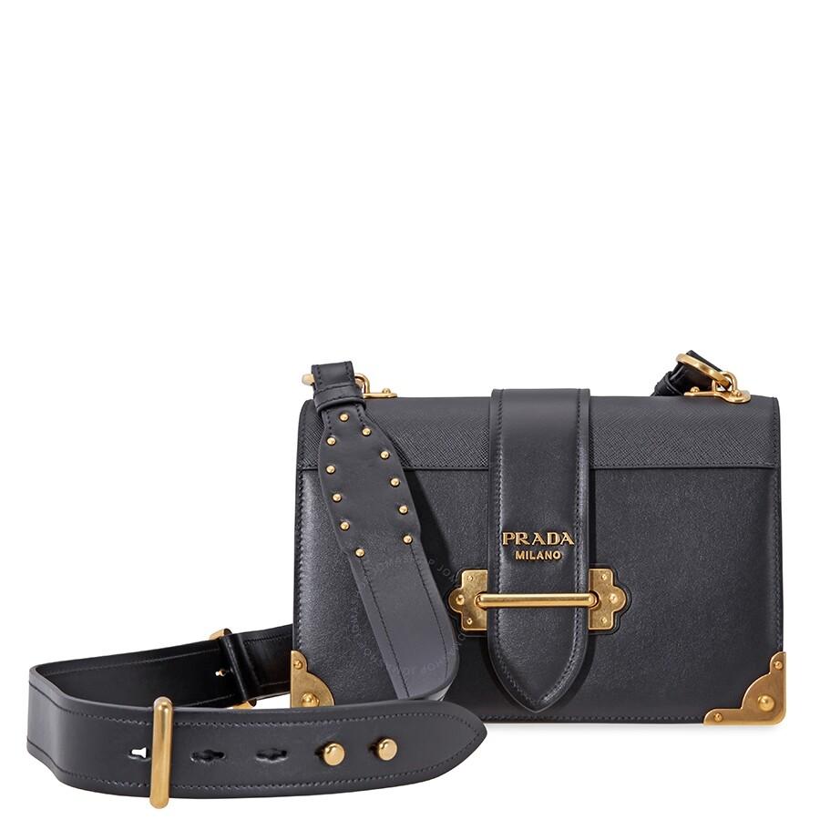 be7214c46524 PradaCahier Large Leather Bag- Black - Prada - Handbags - Jomashop