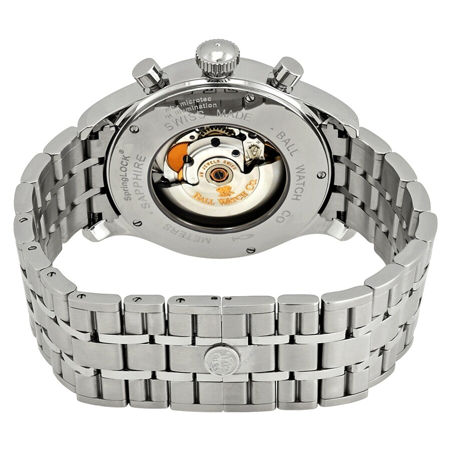 Pre-owned Ball Trainmaster Cannonball S Chronograph Automatic Grey Dial  Men's Watch CM1052D-S2J-GY