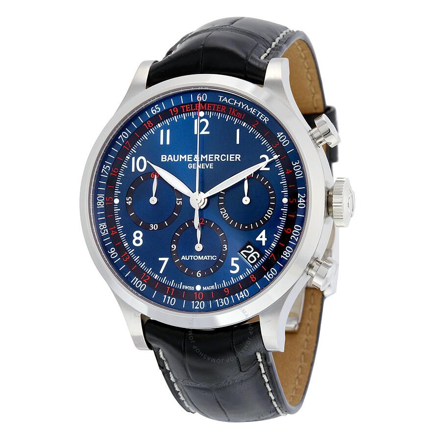 nouveau produit b70ed 696f9 Pre-owned Baume et Mercier Capeland Chronograph Automatic Blue Dial Men's  Watch 10065