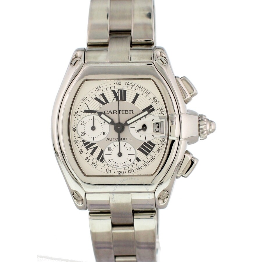 10ff22f81f7 Pre-owned Cartier Roadster Chronograph Automatic White Dial Men s Watch 2618