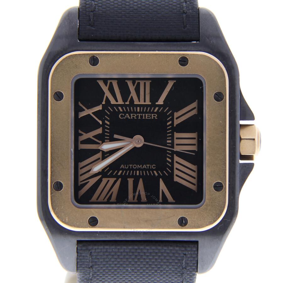 Pre-owned Cartier Santos 100 Automatic Black Dial Men's Watch 2656