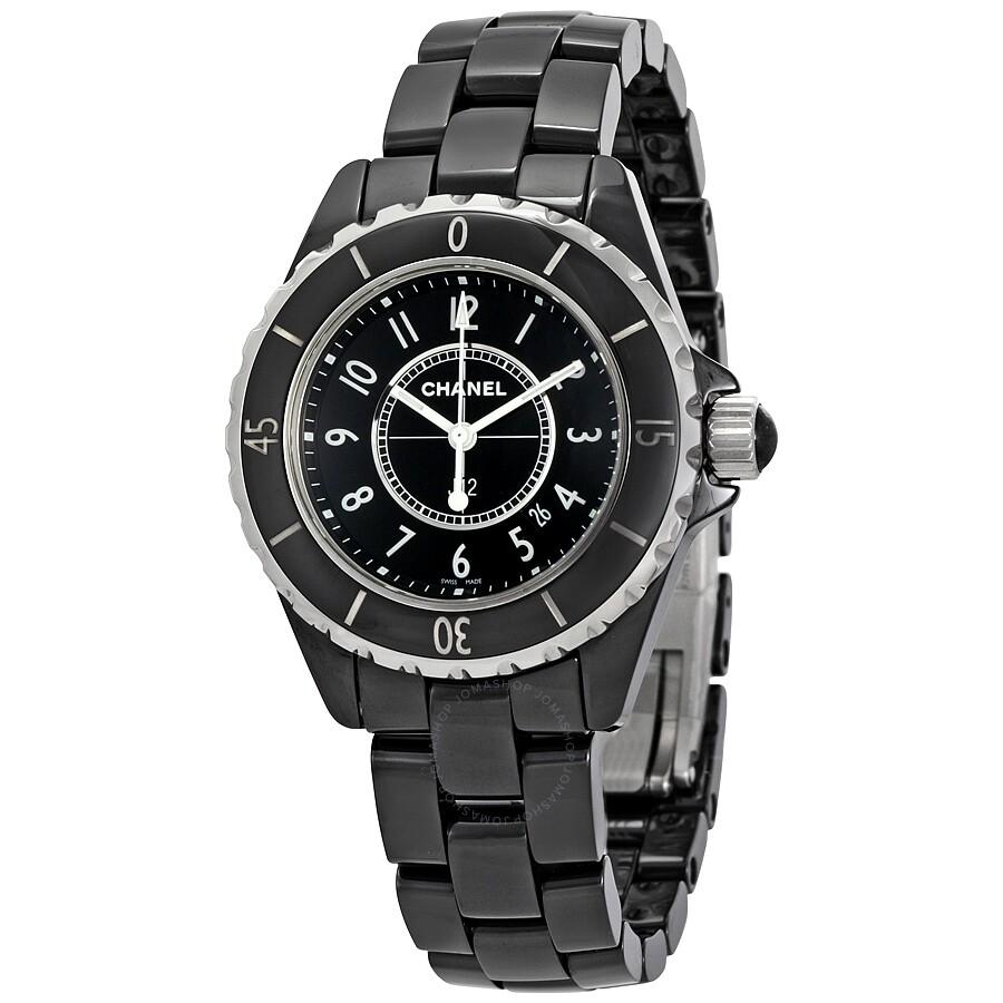 Pre-owned Chanel J12 Black Quartz Black Dial Ladies Watch H0682