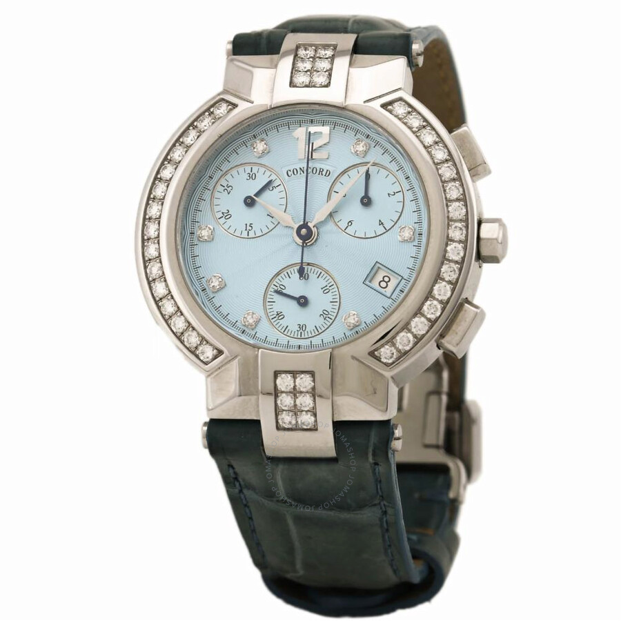9582eafa012 Pre-owned Concord La Scala Chronograph Automatic Diamond Blue Dial Ladies  Watch 14.C5