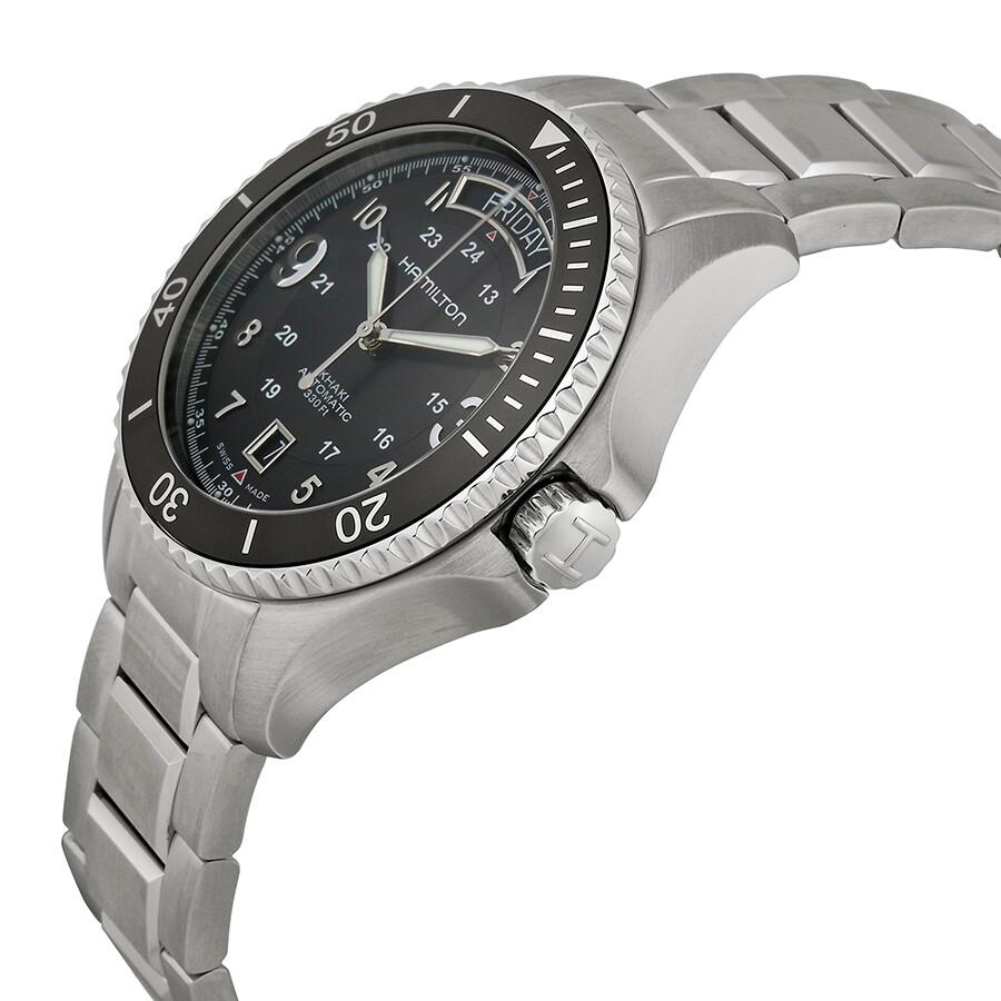 67e8a02984f ... Pre-owned Hamilton Khaki King Scuba Automatic Black Dial Men s Watch  H64515133 ...