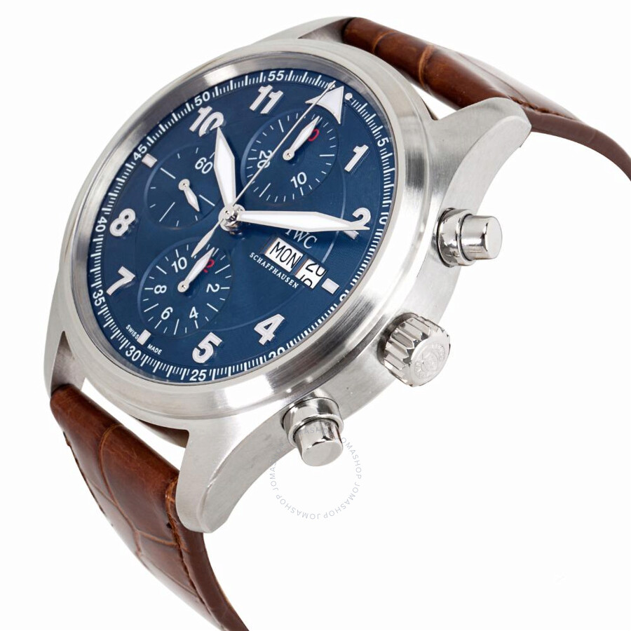 604f07d017 Pre-owned IWC Classic Pilots Chronograph Automatic Blue Dial Men's Watch  IW371712