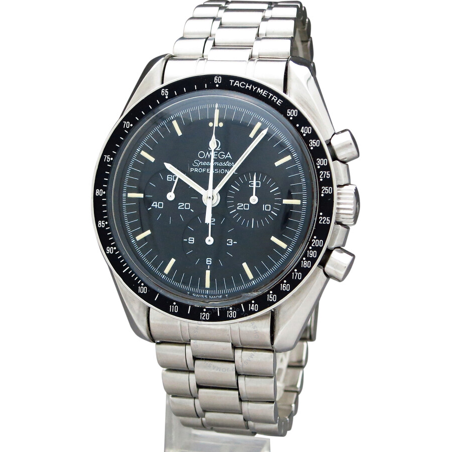 pre owned omega moon watch chronograph black dial men 39 s. Black Bedroom Furniture Sets. Home Design Ideas