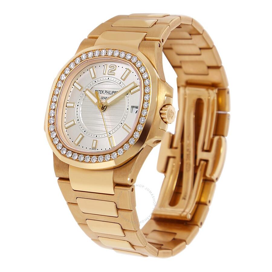 Pre owned patek philippe nautilus diamond silver dial ladies watch 7010 1r 001 patek philippe for Patek philippe nautilus