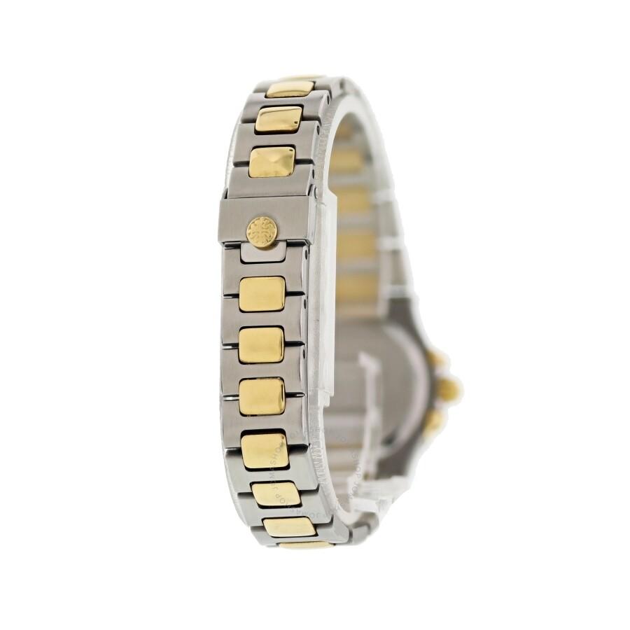 Kompass nautilus ladies rose gold silver dial black strap