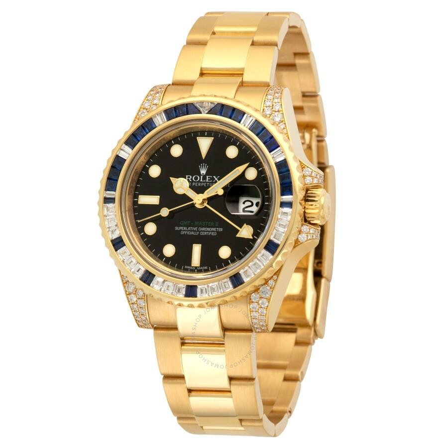 Pre Owned Rolex Gmt Master Ii Diamond Gold Tone Dial Unisex Watch 116758saru