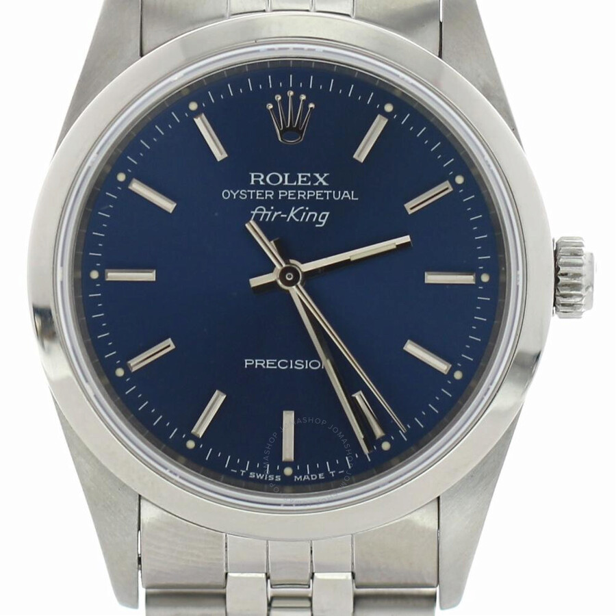 Pre owned rolex air king automatic chronometer blue dial ladies watch 14000 blsj air king for Rolex air king
