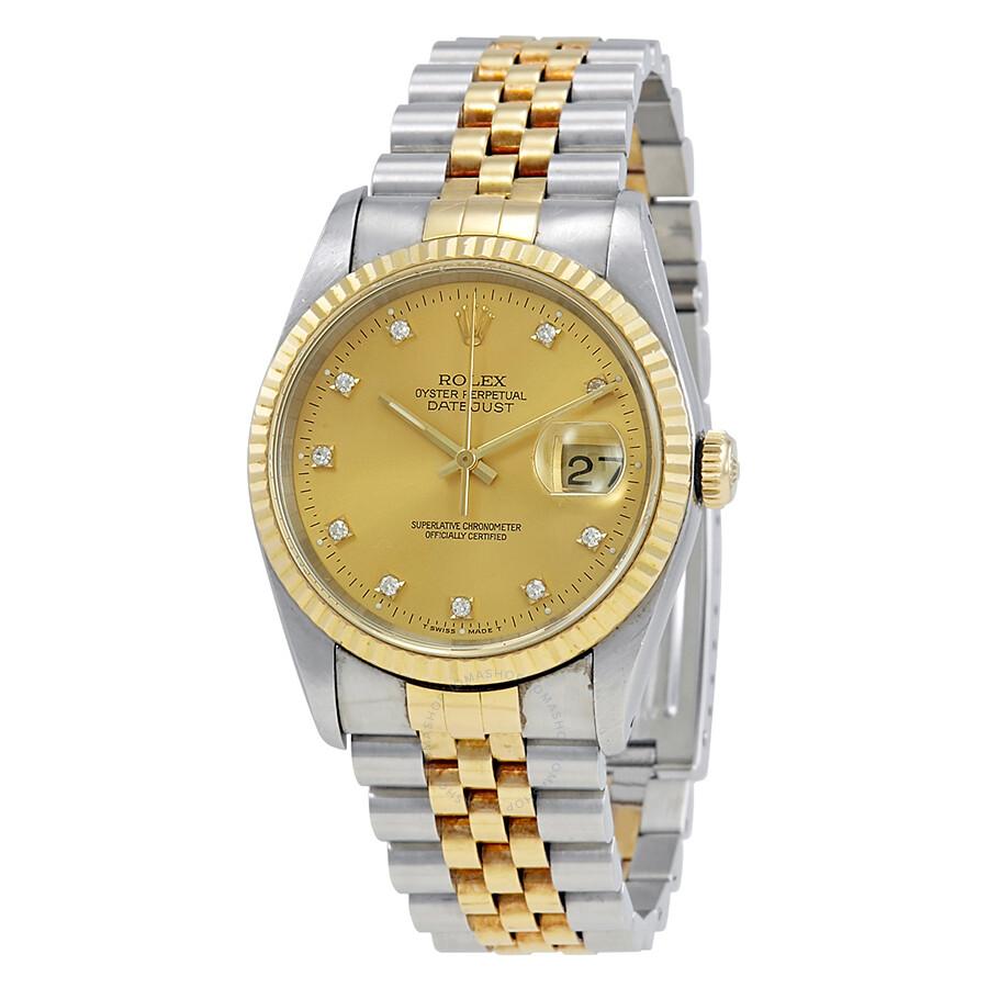 4436a66dec529 Pre-owned Rolex Champagne Diamond 18k Yellow Gold   Steel Men s Watch  16233CDJ ...