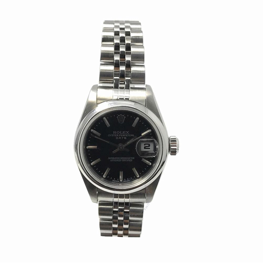 69419421885f8 Pre-owned Rolex Date Automatic Chronometer Black Dial Ladies Watch 79160  BKSJ ...