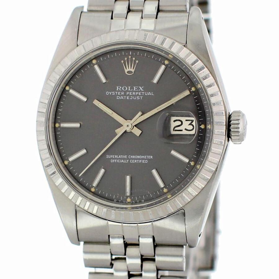 Pre Owned Rolex Datejust Automatic Black Dial Men S Watch 1603 Bksj