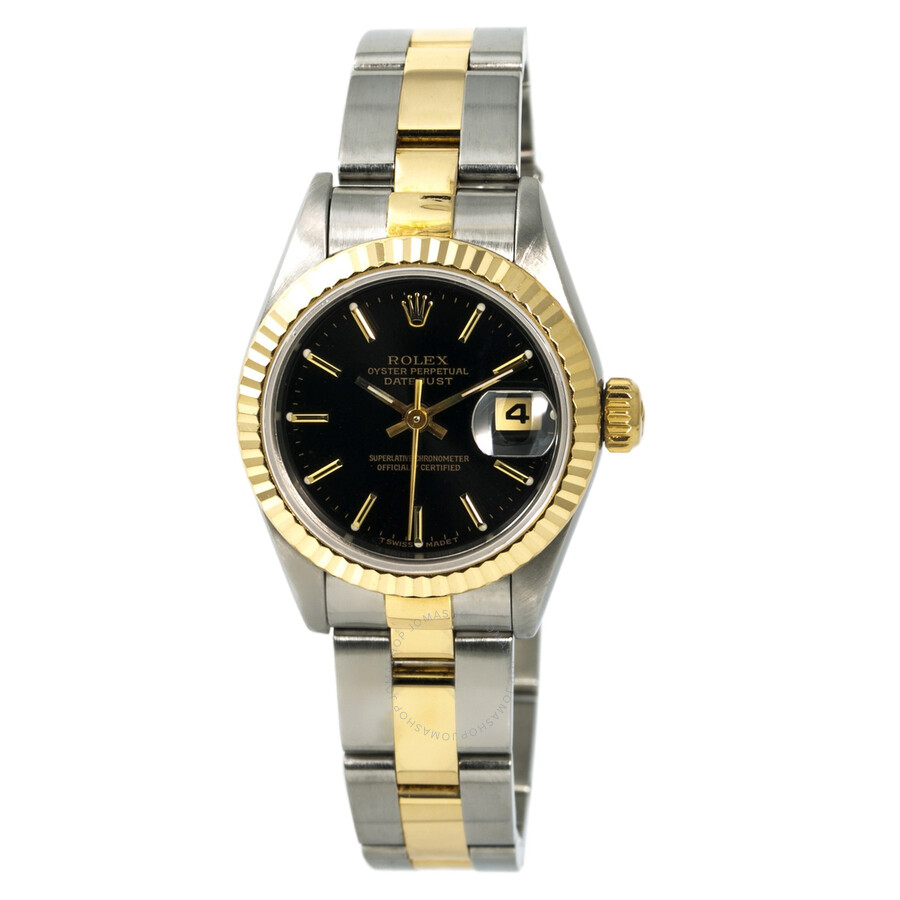 da737915255cf Pre-owned Rolex DateJust Automatic Chronometer Black Dial Ladies Watch 69173