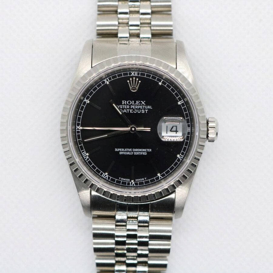 30aed0e59af48 Pre-owned Rolex Datejust Automatic Chronometer Black Dial Men's Watch 16220  ...