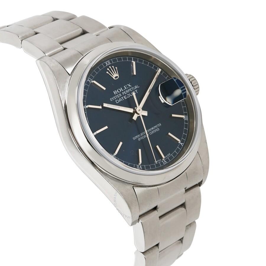 eda4b60d12d ... Pre-owned Rolex Datejust Automatic Chronometer Blue Dial Men's Watch  16200 BLSO ...