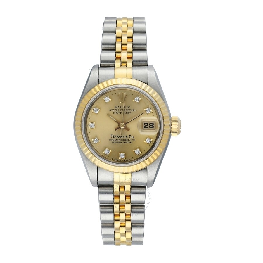 0923522267bfd Pre-owned Rolex DateJust Automatic Chronometer Diamond Champagne Dial  Ladies Watch 69173 CDJ ...