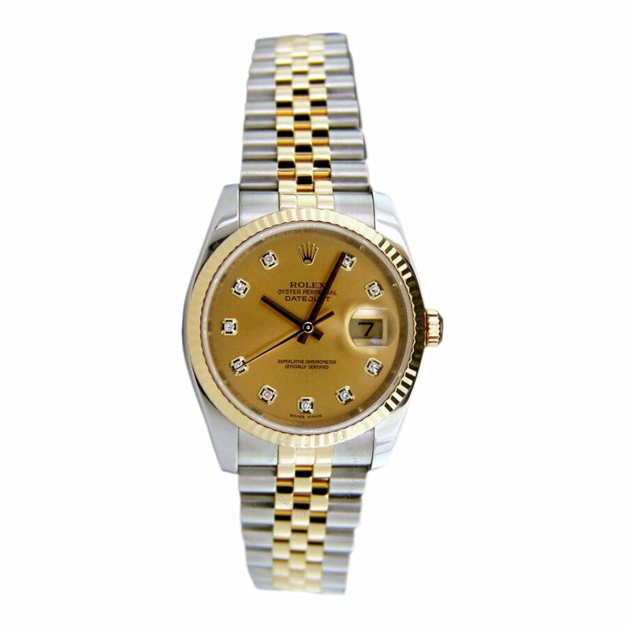 d361330d896 Pre-owned Rolex Datejust Automatic Chronometer Diamond Champagne Dial Men's  Watch 116233 CDJ ...