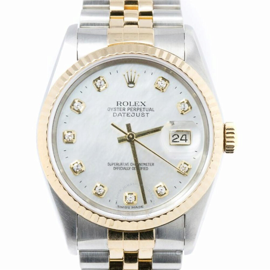 ad6be97c12df6 Pre-owned Rolex Datejust Automatic Chronometer Diamond White Dial Men s  Watch 16233 WDJ ...