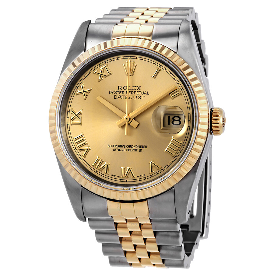 0e3724052fc2a Pre-owned Rolex Datejust Champagne Dial 18k Gold Steel Men s Watch 16233CRJ  ...