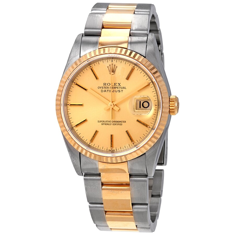 2f401c41a73 Pre-owned Rolex Datejust Champagne Dial 18kt Yellow Gold and Steel mens  Watch 16233CSO ...