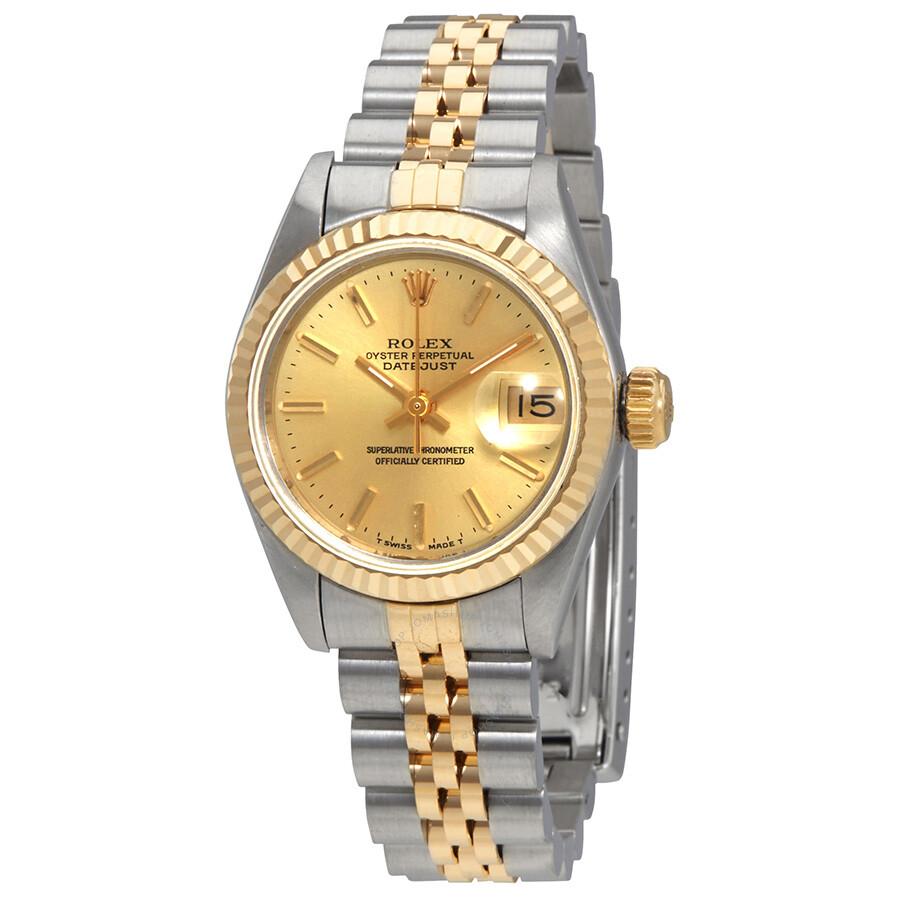 Pre Owned Rolex Datejust Champagne Dial Jubilee Bracelet 26mm Ladies Watch 69173csj