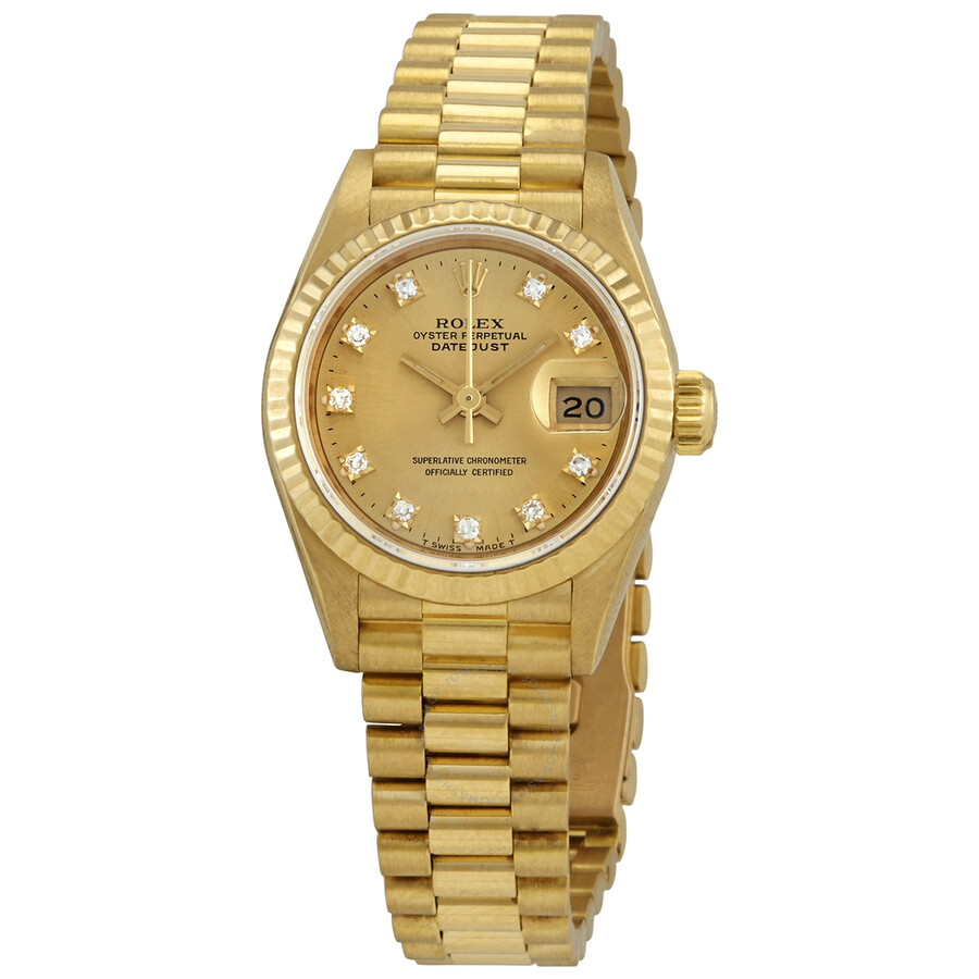 Pre,owned Rolex Datejust Champagne Dial President Bracelet Ladies Watch  69178CDP