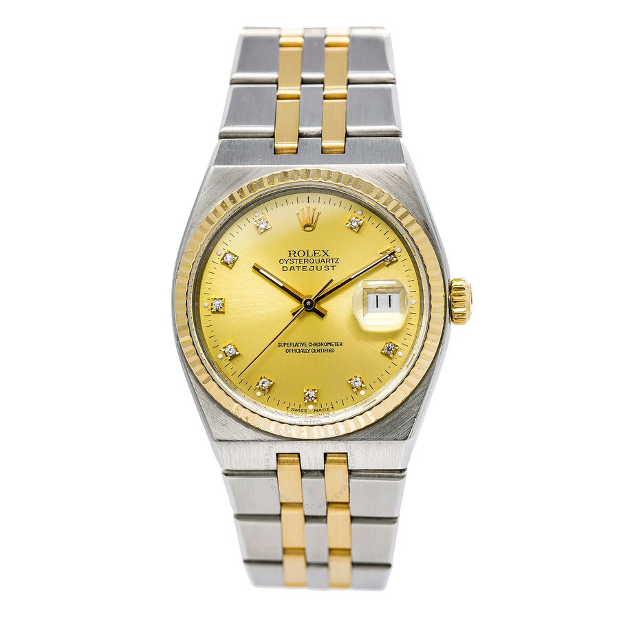 9b0ee74570ef Pre-owned Rolex Datejust OysterQuartz Diamond Champagne Dial Men s Watch  17013 CDJ