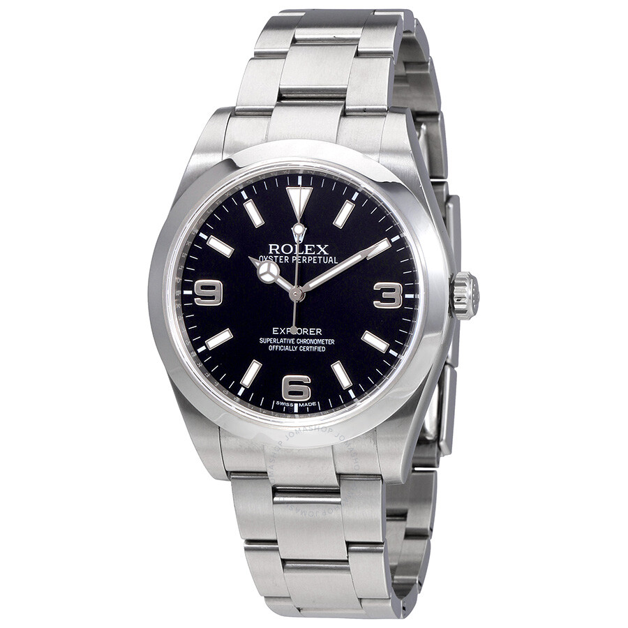 68a8866f290 Pre-Owned Rolex Explorer Black Dial Stainless Steel Oyster Bracelet  Automatic Men s Watch BKASO ...