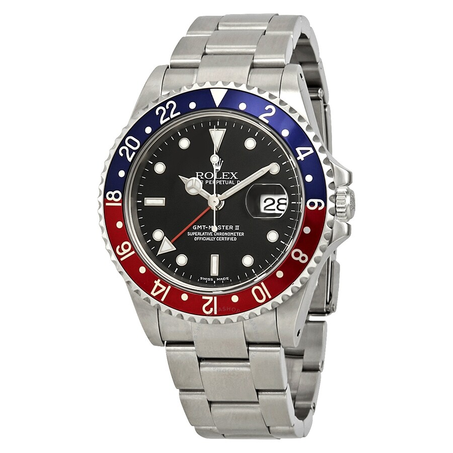 Pre,owned Rolex GMT Master II Black Dial Pepsi Bezel Automatic Men\u0027s Watch  16710
