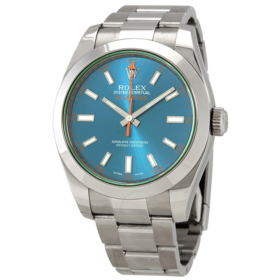 Pre,owned Rolex Milgauss Automatic Blue Dial Stainless Steel Men\u0027s Watch  116400GV