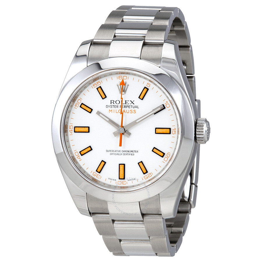 Pre owned rolex milgauss white dial stainless steel rolex oyster automatic men 39 s watch 116400wso for Rolex milgauss