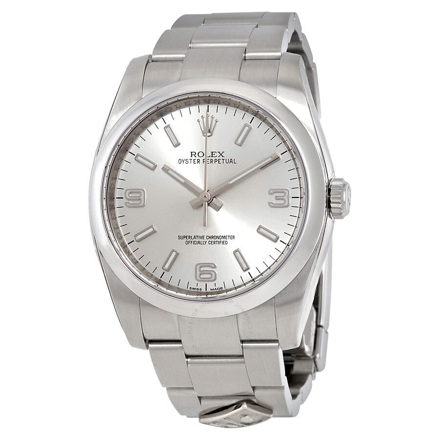 Pre Owned Rolex Oyster Perpetual 36 Mm Silver Dial Stainless Steel Rolex Oyster Automatic Men S Watch 116000saso Dominos Pizza Logo On Watch