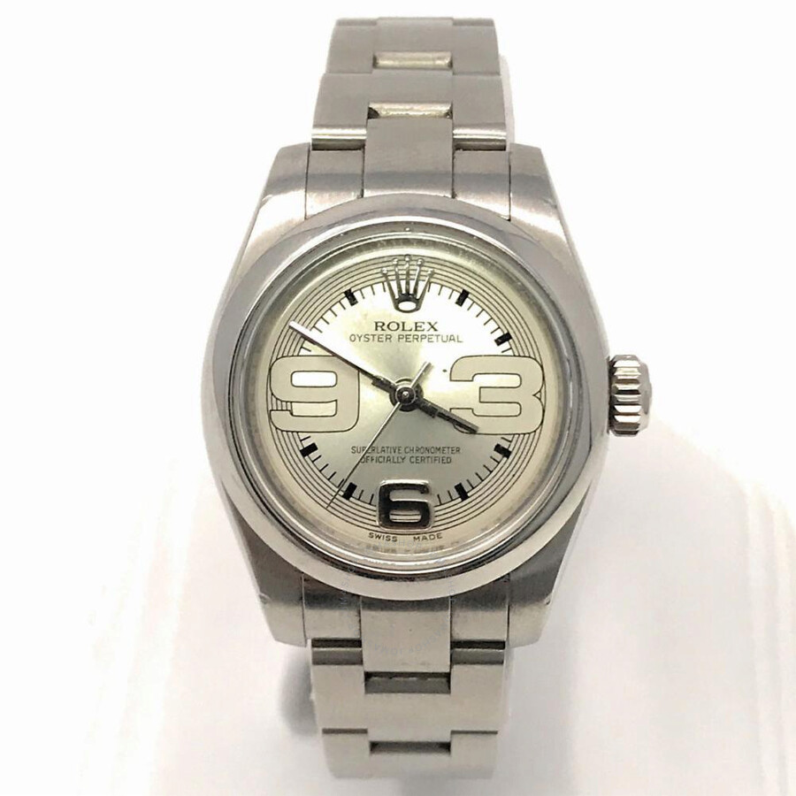 18e0e7b8dde Pre-owned Rolex Oyster Perpetual Automatic Chronometer Silver Dial Ladies  Watch 176200 SSAO ...