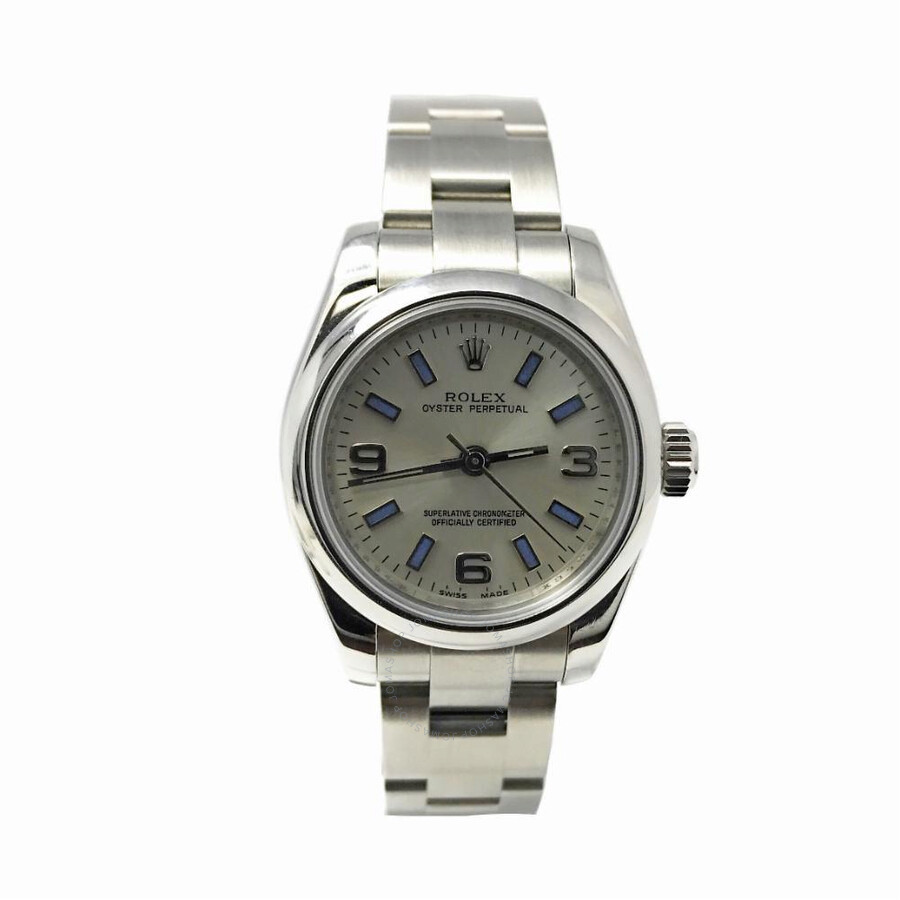 2b80f034494 Pre-owned Rolex Oyster Perpetual Automatic Chronometer Silver Dial Ladies  Watch 176200 SSO ...
