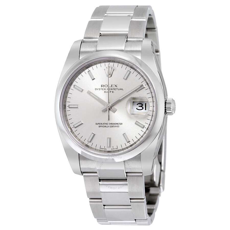 Pre Owned Rolex Oyster Perpetual Date 34 Silver Dial Stainless Steel