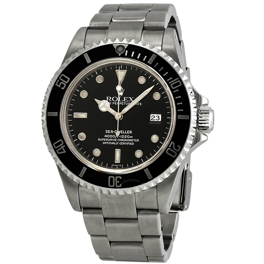 Pre Owned Rolex Sea Dweller Black Dial Stainless Steel Men S Watch 16600bkso