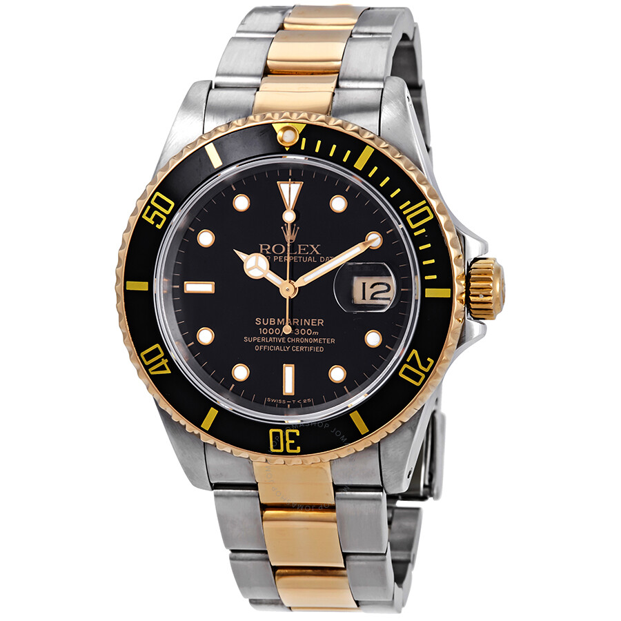 Pre,Owned Rolex Submariner Black Dial Two,Tone Men\u0027s Watch 16613BKSO