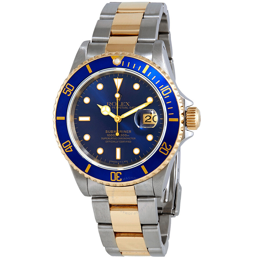 Pre Owned Rolex Submariner Blue Dial Stainless Steel And 18k Yellow Gold Oyster Bracelet Automatic Men S Watch 16613blso