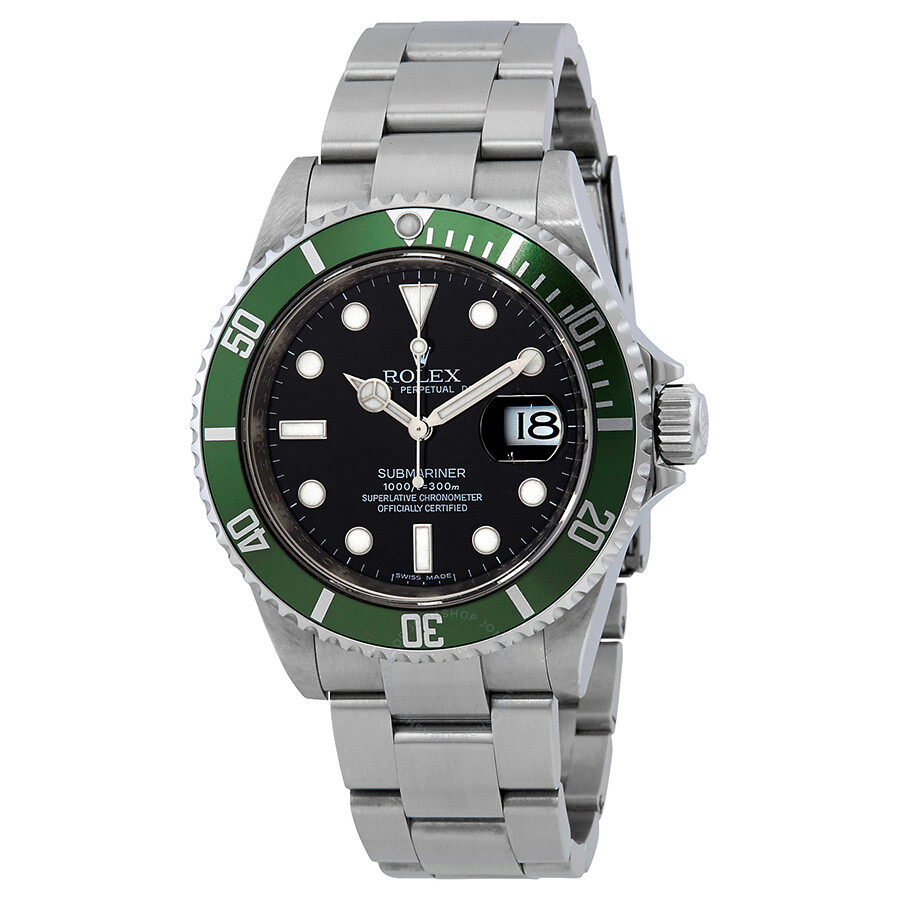 pre owned rolex submariner green bezel oyster bracelet men 39 s watch 16610lv submariner rolex. Black Bedroom Furniture Sets. Home Design Ideas