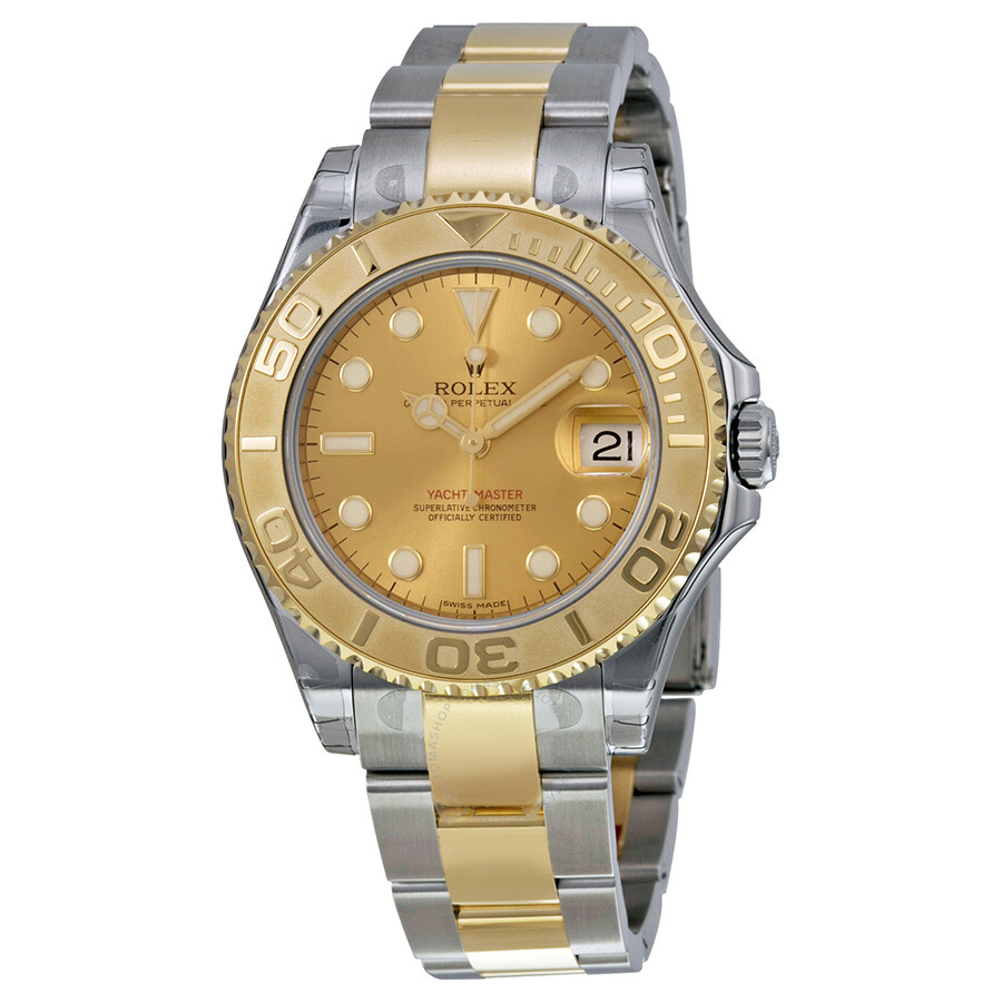 Pre,owned Rolex Yacht,Master Gold Dial Stainless Steel and 18K Yellow Gold  Oyster Bracelet Automatic Unisex Watch 68623CSO