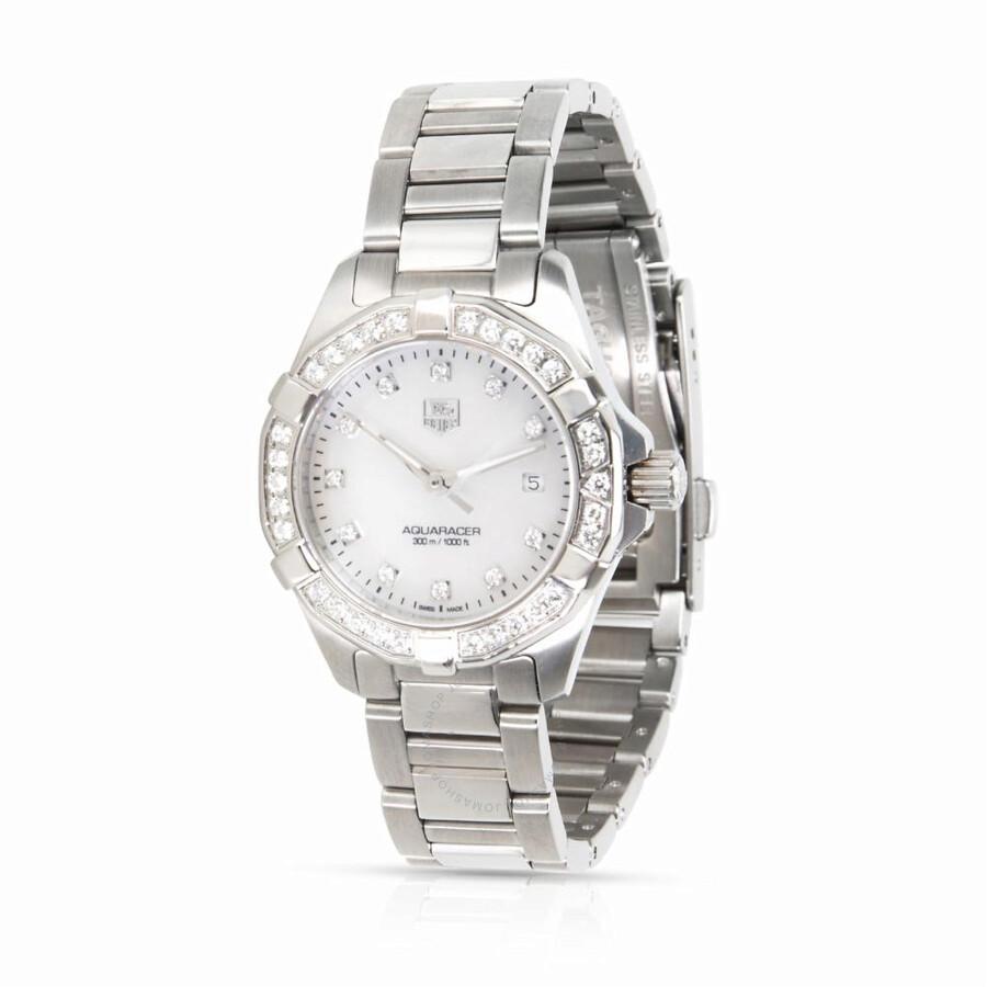 6e56518e18e Pre-owned Tag Heuer Aquaracer Diamond White Dial Ladies Watch WAY1414.