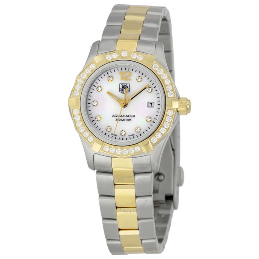 4a3c697dd5d Pre-owned Tag Heuer Aquaracer Mother of Pearl Diamond Ladies Watch WAF1450.
