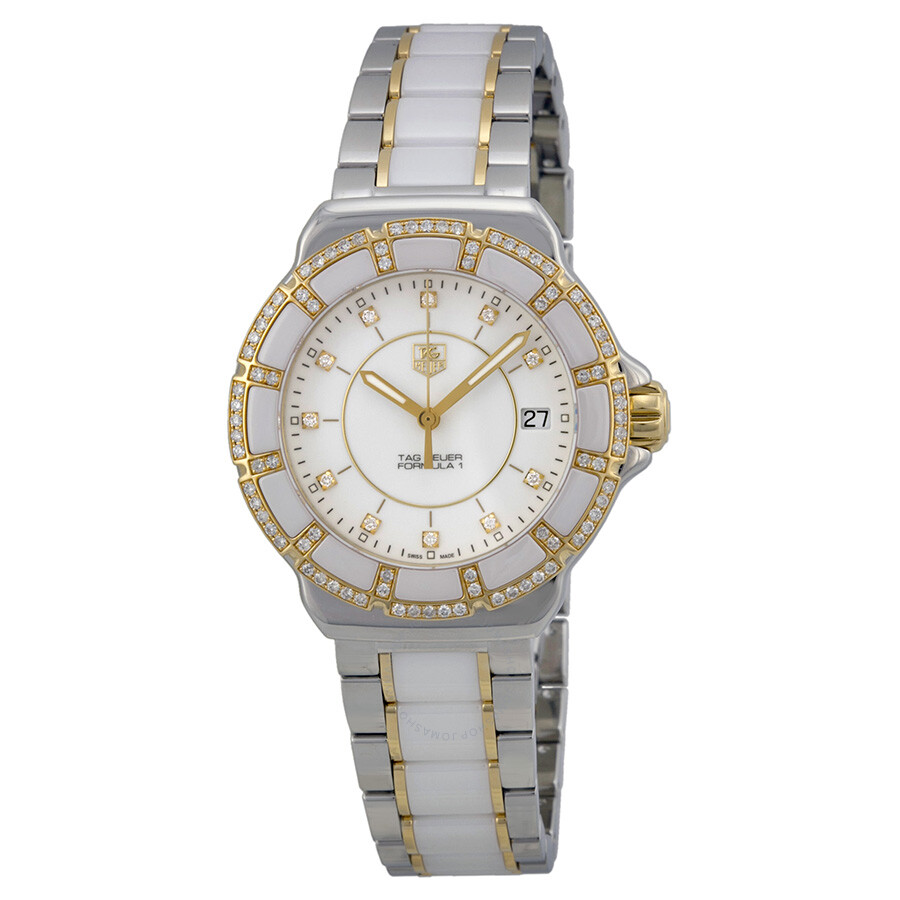 Pre Owned Tag Heuer Formula 1 White Diamond Dial Ladies Watch Wah1221bb0865