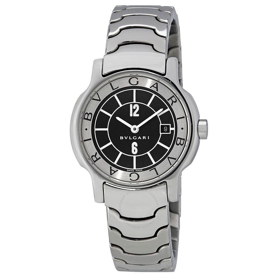 best website 97f42 79da6 Pre-owned Bvlgari Solotempo 29mm Black Dial Steel Bracelet Quartz Ladies  Watch ST29S