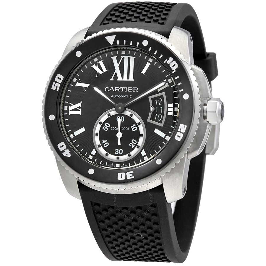cartier calibre de cartier black dial rubber menu0027s watch